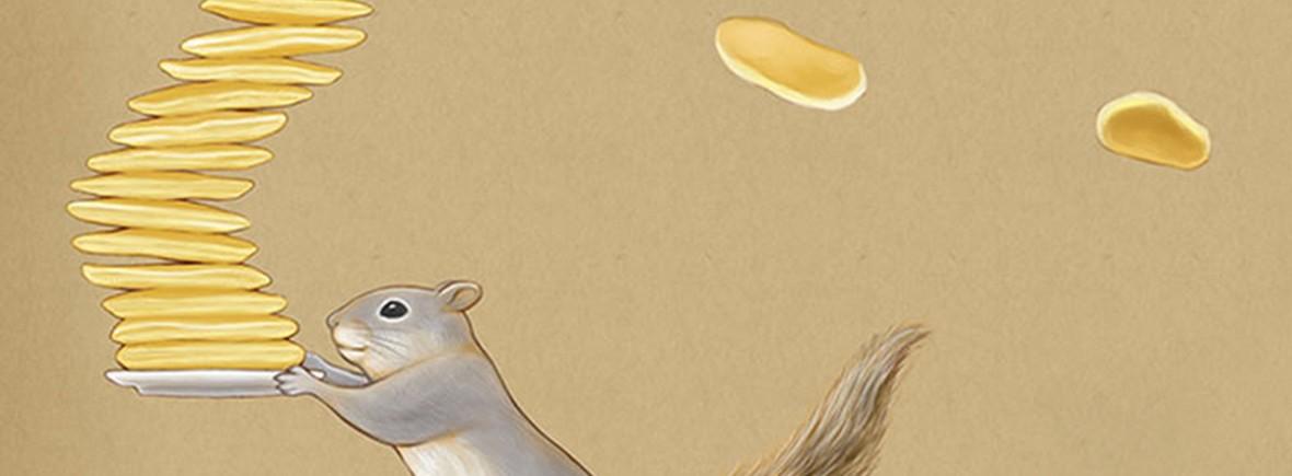 белка с блинами